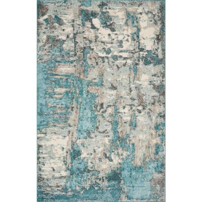 Watercolors Ivory/Teal 8 ft. x 10 ft. Watercolor Area Rug