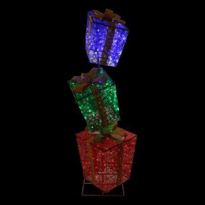 LED Lighted Colorful Shimmering Snowflake Stacked Gift Boxes Outdoor Decoration