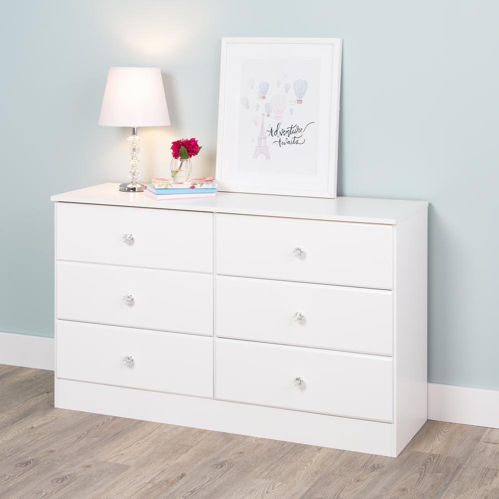 Astrid 6-Drawer Crystal White Dresser