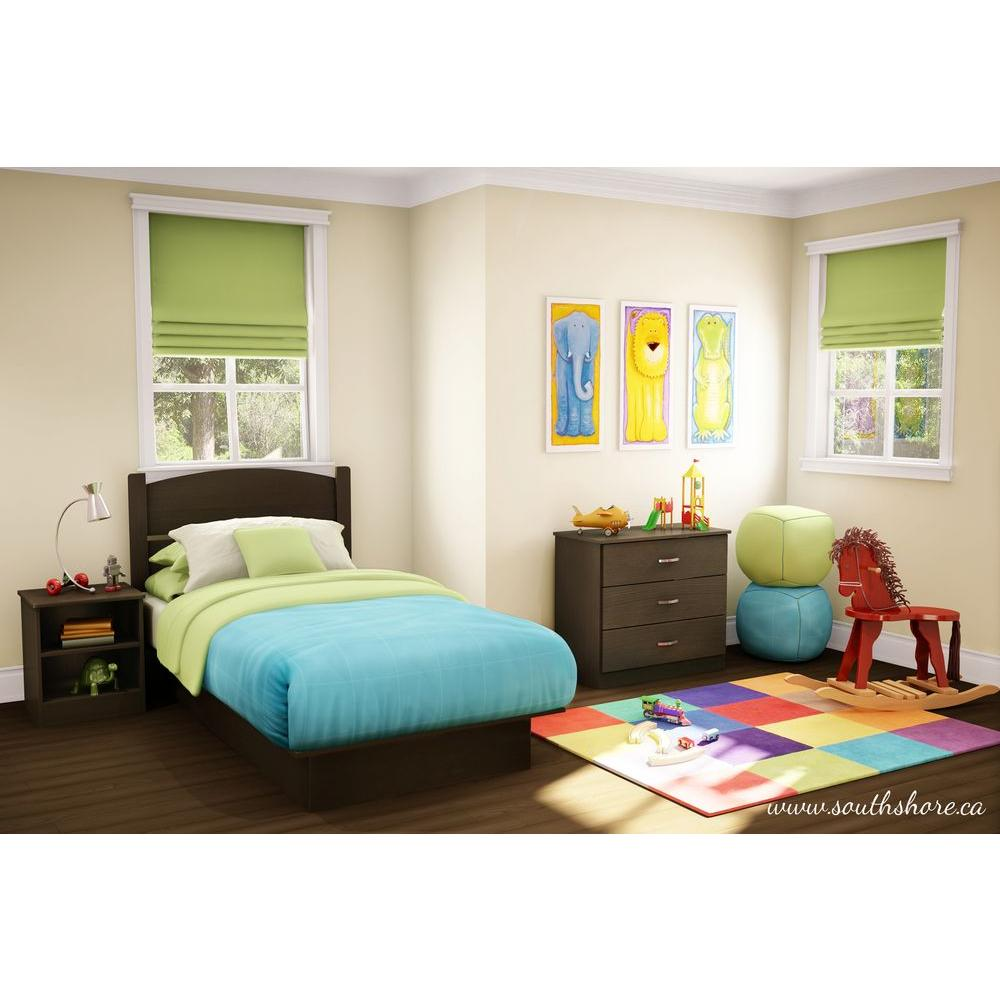 South shore libra 3 piece chocolate twin kids bedroom set 3159223 the home depot Bedroom furniture at home depot