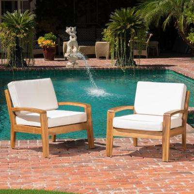 Grenada Teak Stationary Wood Outdoor Lounge Chair with Beige Cushion (2-Pack))