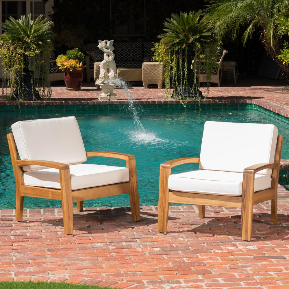 Noble House Grenada Teak Finish Stationary Wood Outdoor Lounge Chair with  Beige Cushion (2-Pack))