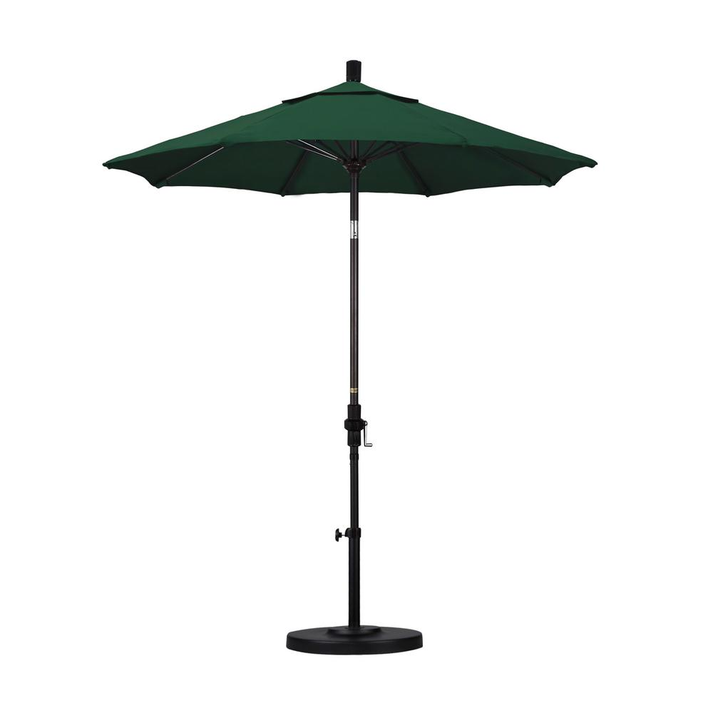 California Umbrella 7-1/2 ft. Fiberglass Collar Tilt Patio Umbrella in Hunter Green Olefin