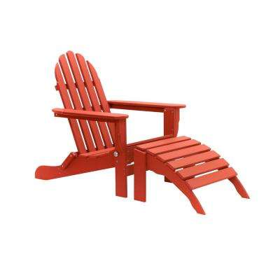 Icon Bright Red 2-Piece Folding Recycled Plastic Folding Adirondack Chair