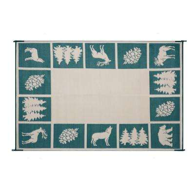 9 ft. x 12 ft. Reversible Mat - Hunter Mat Hunter Green/Beige