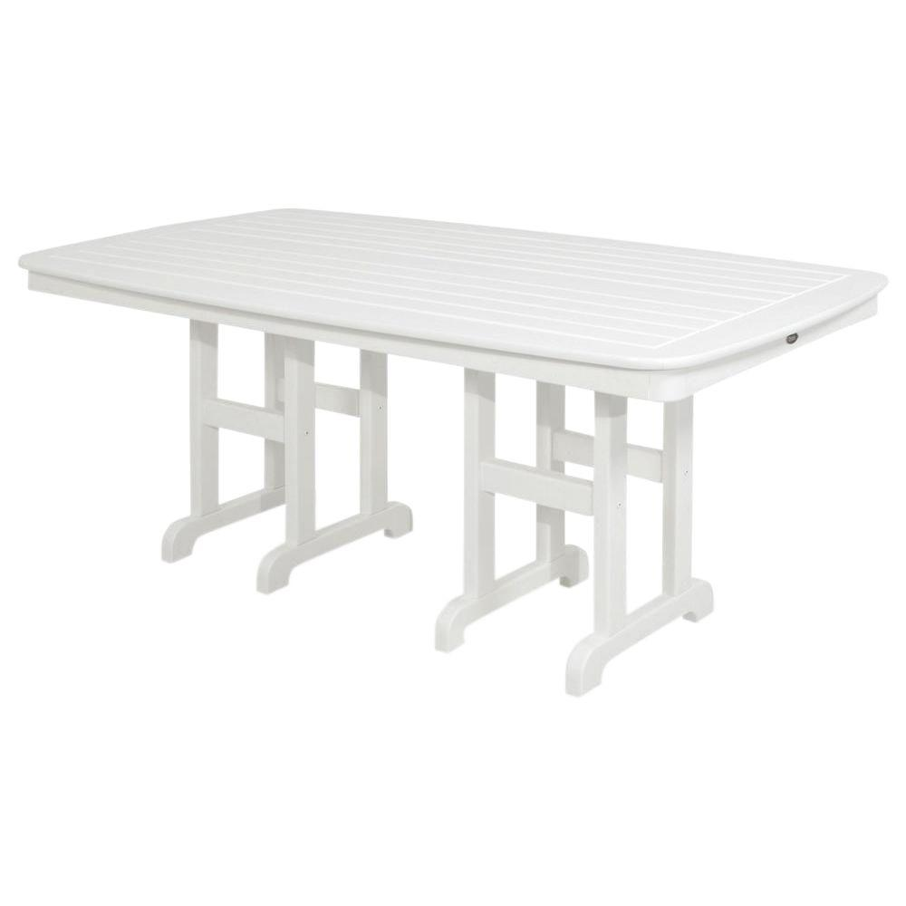 Trex Outdoor Furniture Yacht Club 37 in. x 72 in. Classic White Patio Dining Table ShopFest Money Saver