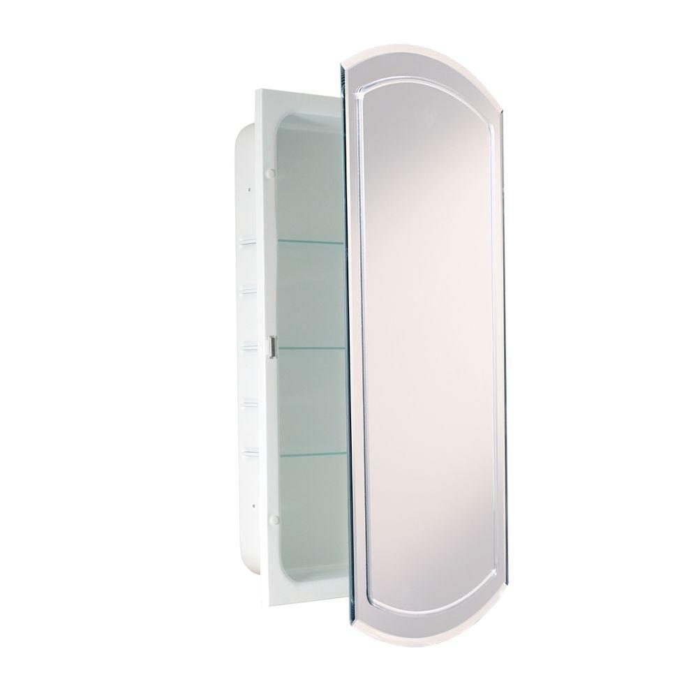 Deco Mirror 16 in. W x 30 in. H x 4-1/2 in. D Frameless Recessed V ...