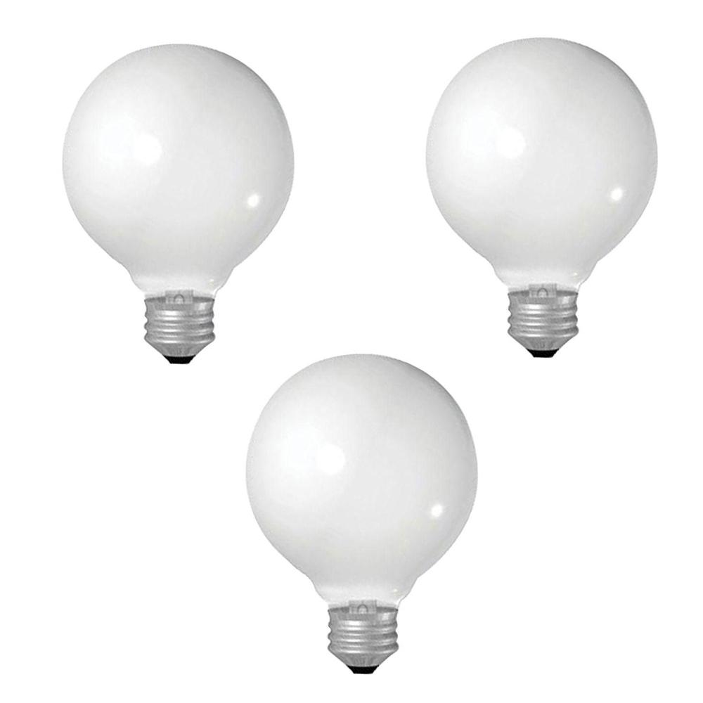GE 25-Watt Incandescent G25 Globe Double Life Clear Light Bulb (3-Pack)