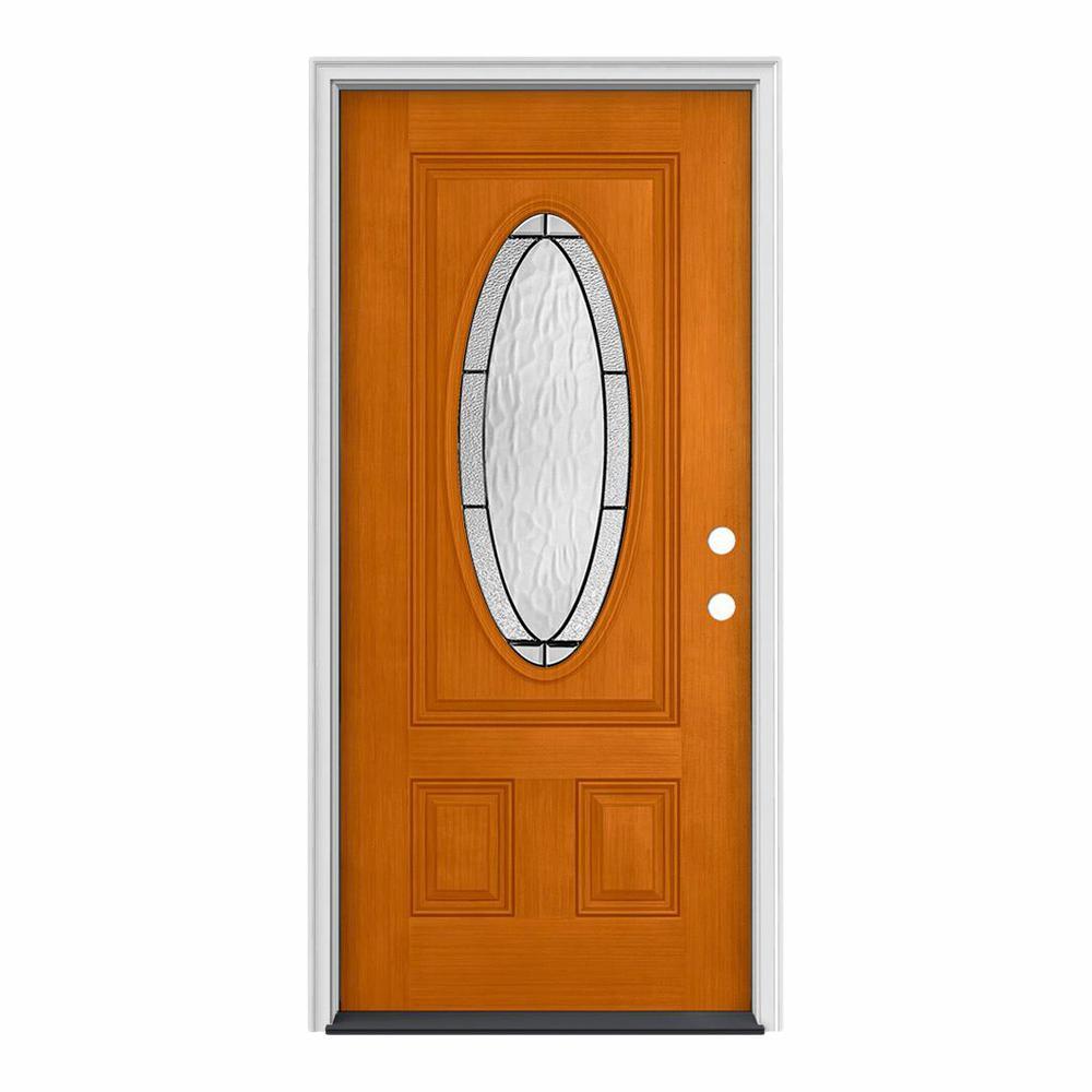 32 in. x 80 in. 3/4 Oval Lite Wendover Saffron Stained Fiberglass Prehung Left-Hand Inswing Front Door
