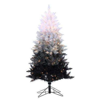 5 ft. Pre-Lit Black Ombre Spruce Artificial Christmas Tree