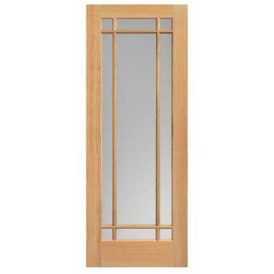 30 in. x 84 in. Prairie Unfinished Fir Veneer 9-Lite Solid Wood Interior Barn Door Slab