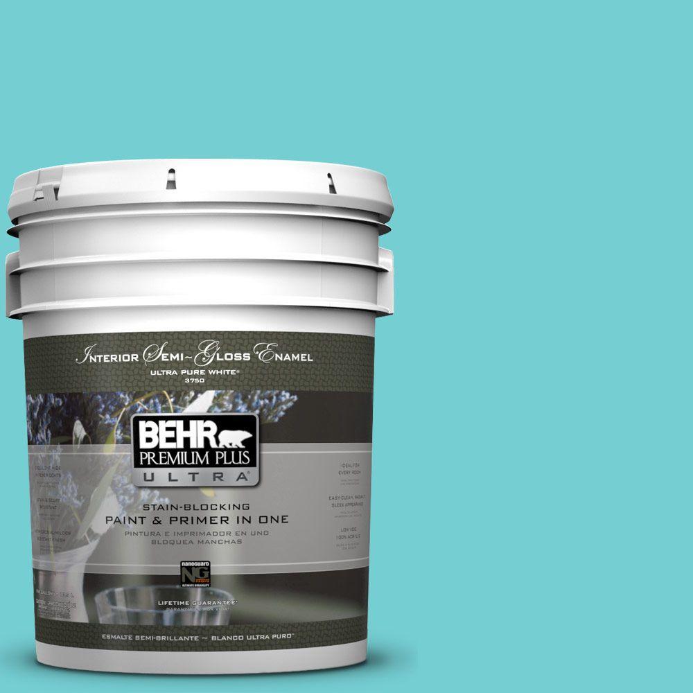 BEHR Premium Plus Ultra 5-gal. #P460-3 Soft Turquoise Semi-Gloss Enamel Interior Paint