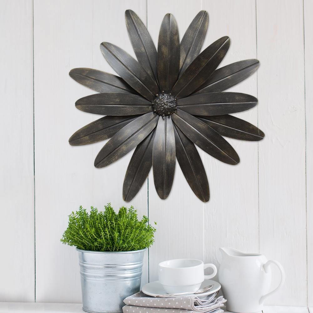 Industrial Flower Metal Wall Decor S07701 The Home Depot
