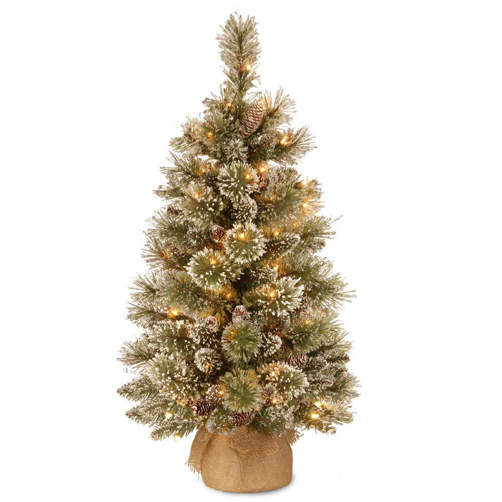 3 ft. Glittery Bristle Pine Tree with Battery Operated Warm White