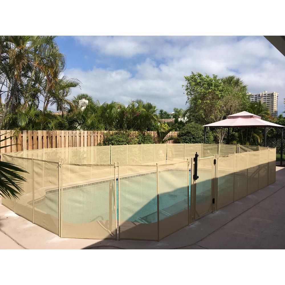 Waterwarden 5 Feet High X 30 Inches Wide Beige In Ground Self Closing Pool Safety Gate Wwg301b The Home Depot