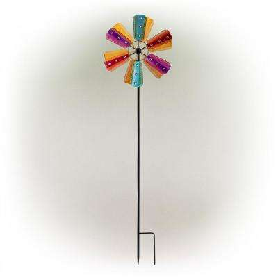 Jeweled Colorful Metal Dual Kinetic Wind Spinner Garden Stake