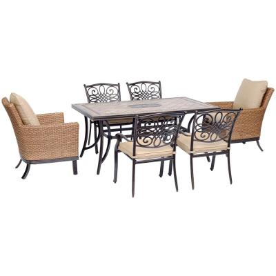 Monaco 7-Piece Aluminum Outdoor Dining Set with Natural Oat Cushions (2-Woven Armchairs, 4-Cast Dining Chairs)
