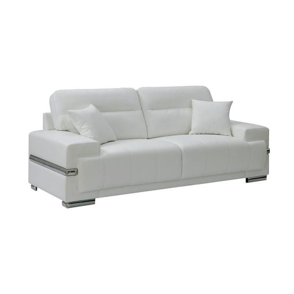 Zibak 37.00 in. White Solid Leather 3-Seat Bridgewater Sofa with No Additional Features
