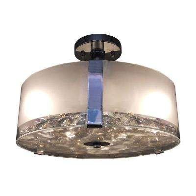 3-Light Chrome Semi-Flushmount