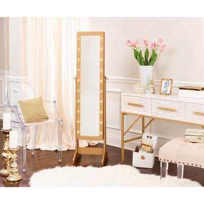 Cheval Free Standing Jewelry Amoire with LED Lights - Gold