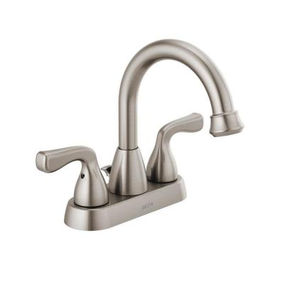 Foundations 4 in. Centerset 2-Handle Hi-Arc Bathroom Faucet in Brushed Nickel
