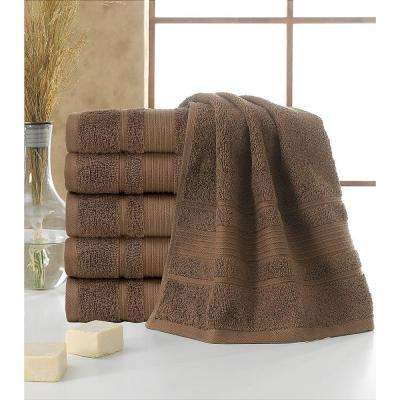 Solomon Collection 16 in. W x 30 in. H 100% Turkish Cotton Bordered Design Luxury Hand Towel in Brown (Set of 6)