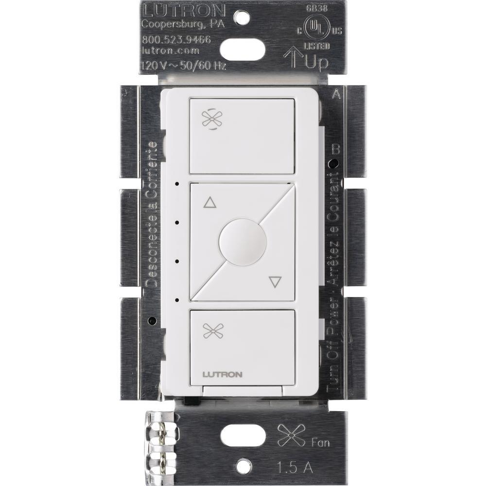 Lutron Single-Pole Caseta Wireless Smart Fan Speed Control, White
