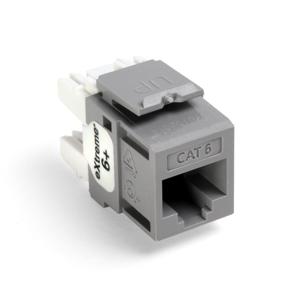 QuickPort Extreme CAT 6 Connector, T568A/B Wiring, Gray