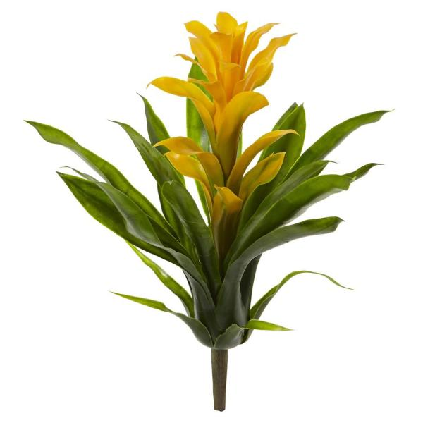 Nearly Natural Indoor 15 in. Bromeliad Artificial Flower (Set of 4)