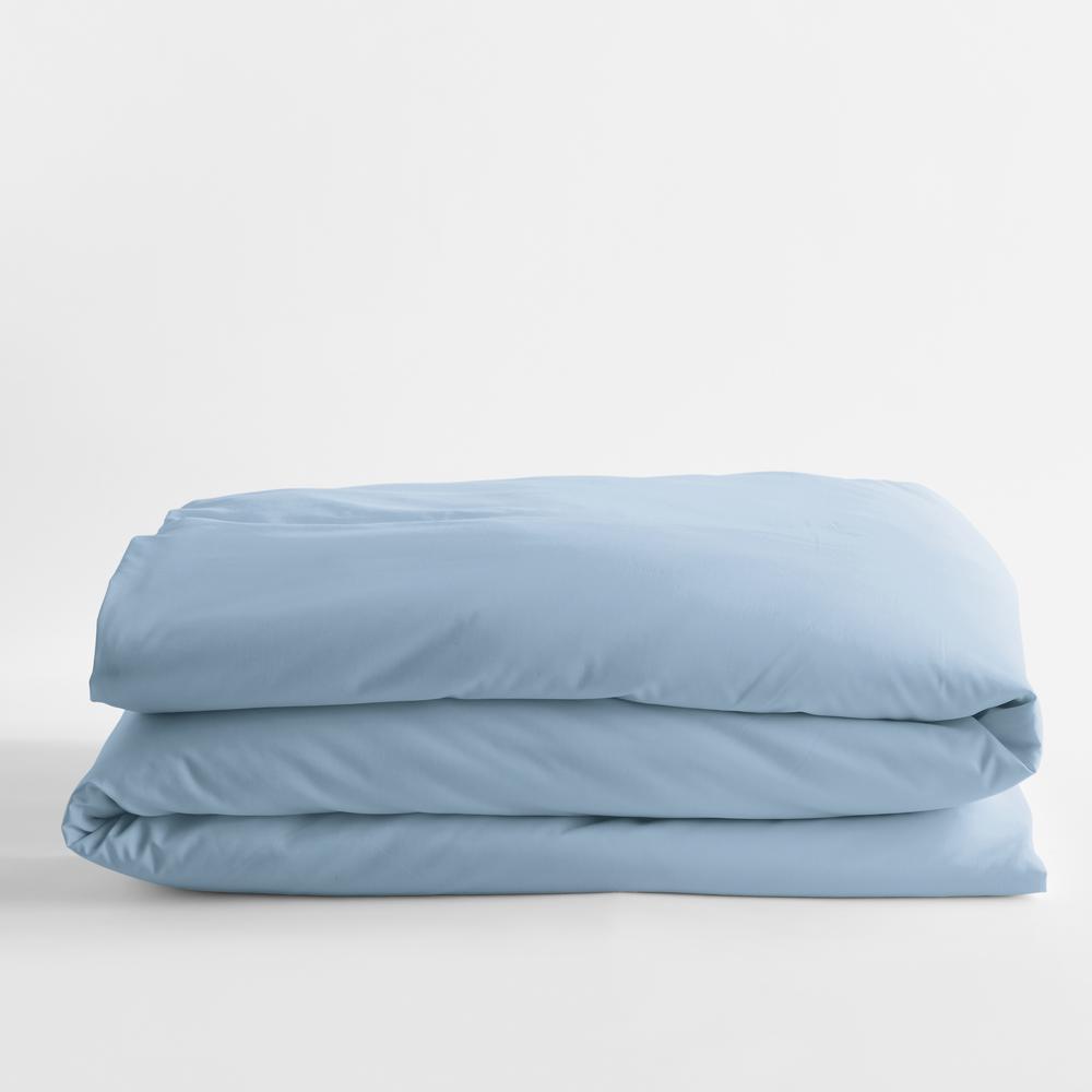 Misty Blue Solid Bamboo Cotton Sateen Queen Duvet Cover