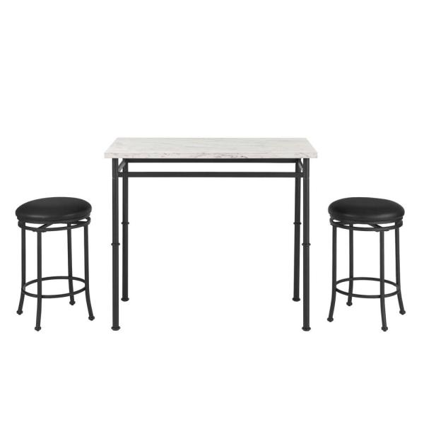 StyleWell Black Metal 3 Piece Dining Set with Faux Marble Top (42 in. W x 32 in. H)