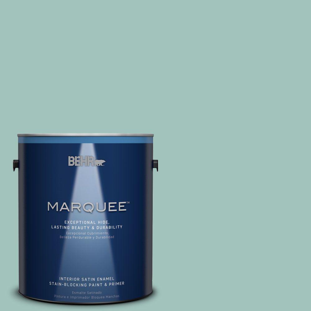 1 gal. #MQ6-36 Cascade Green One-Coat Hide Satin Enamel Interior Paint