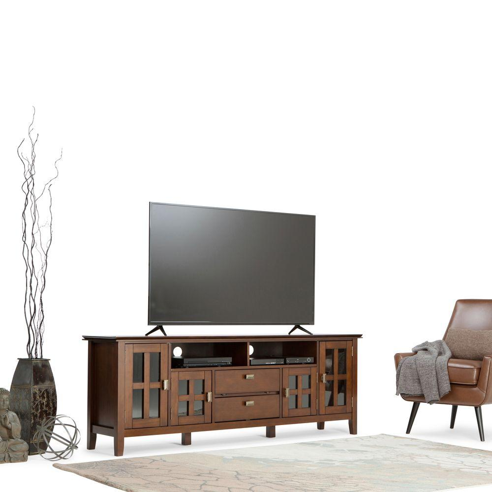 Simpli Home Natural Aged Brown Storage Entertainment Center 90 Inch Tv Stand Degree