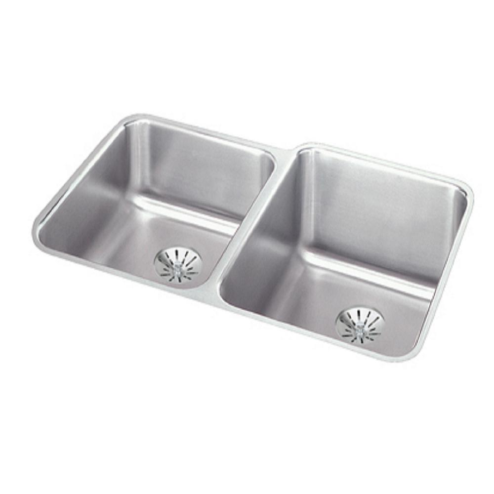 Elkay Ertone Perfect Drain Undermount Stainless Steel 31 In Square Offset Double Bowl Kitchen Sink Left Configuration