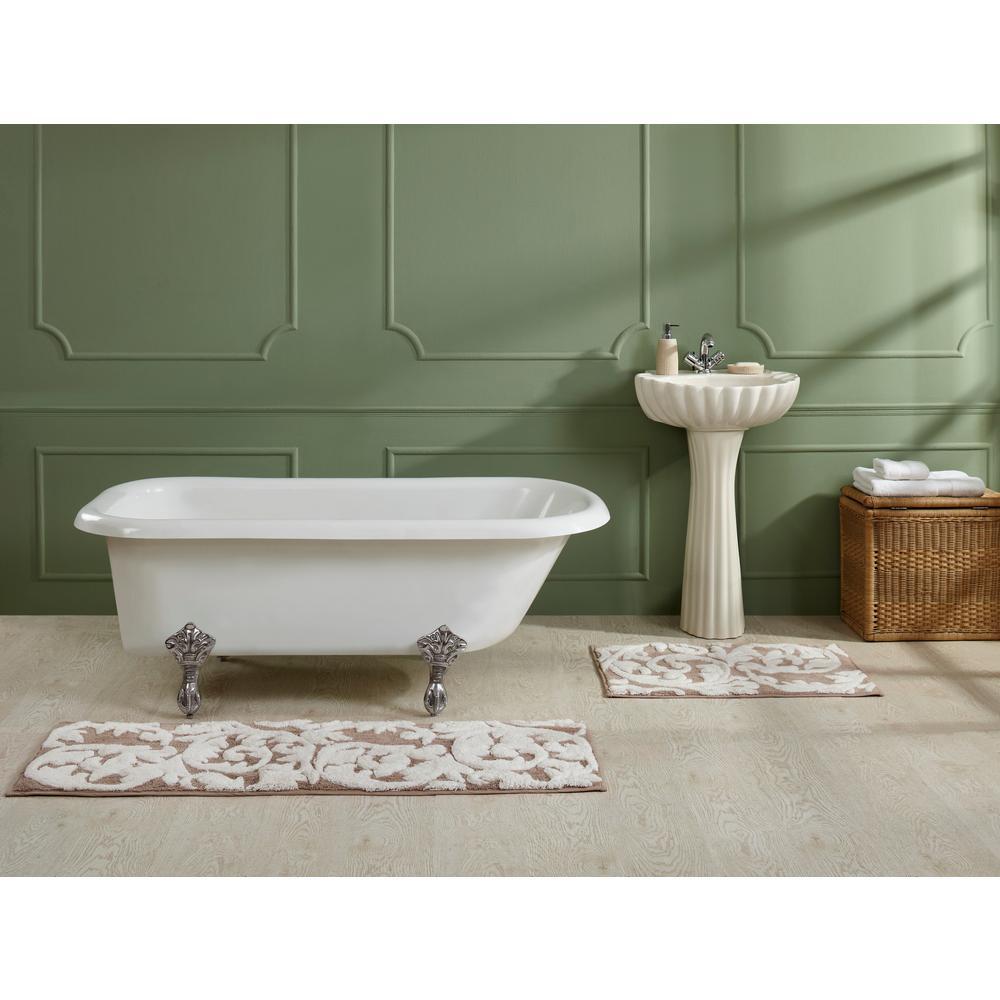 Scroll Memory Blue 20 in. x 32 in. Foam Bathmat