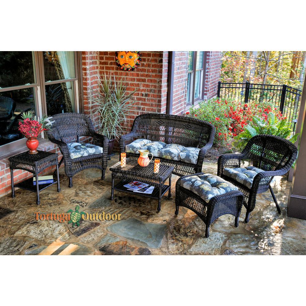 Portside Dark Roast 6-Piece Wicker Patio Seating Set with Vivienne Putty Cushions