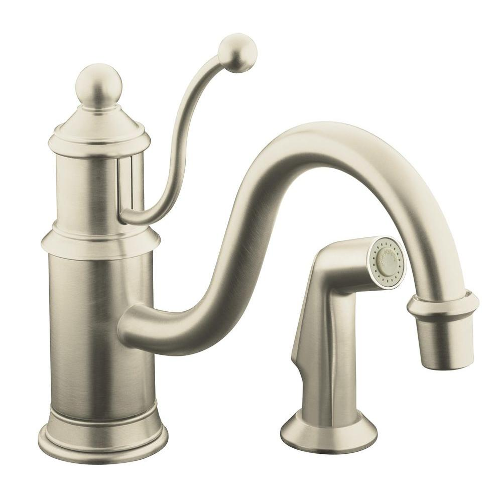 Amazing KOHLER Antique Single Handle Standard Kitchen Faucet With Side Sprayer In  Vibrant Brushed Nickel