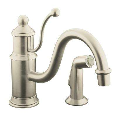Antique Single-Handle Standard Kitchen Faucet with Side Sprayer in Vibrant Brushed-Nickel