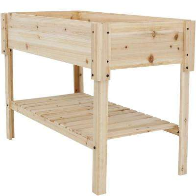 30 in. Raised Wood Garden Bed Planter Box with Shelf