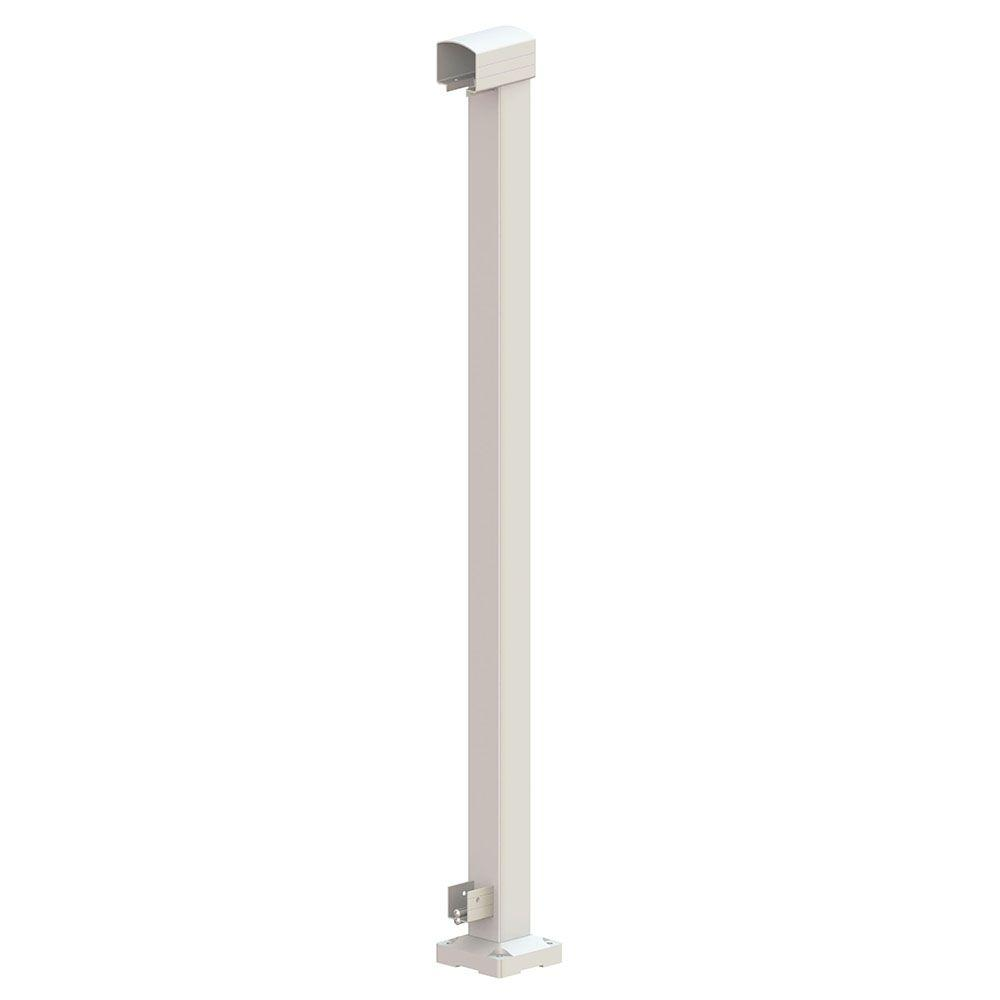 Peak Aluminum Railing 42 in. x 4 in. x 4-3/4 in. White Aluminum End Post