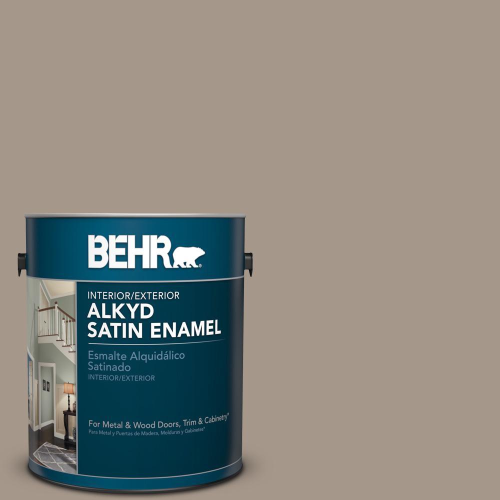 1 gal. #N220-4 Shiitake Satin Enamel Alkyd Interior/Exterior Paint