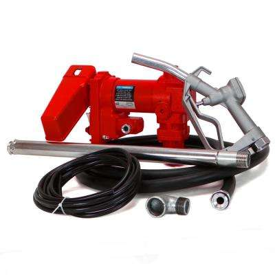 1/4 HP 12-Volt DC Powered Self-Priming Gasoline Fuel Transfer Pump with Nozzle, 20 GPM