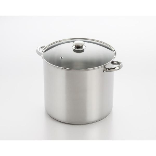 ExcelSteel 12 Qt. Stainless Steel Stock Pot with Encapsulated Base and