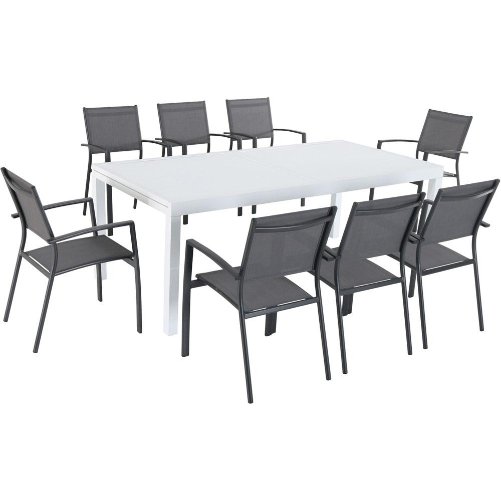 Hanover Del Mar 9-Piece Aluminum Outdoor Dining Set with 8 Sling Chairs in  Gray and a 40 in. x 118 in. Expandable Dining Table
