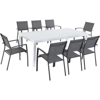Del Mar 9-Piece Aluminum Outdoor Dining Set with 8 Sling Chairs in Gray and a 40 in. x 118 in. Expandable Dining Table
