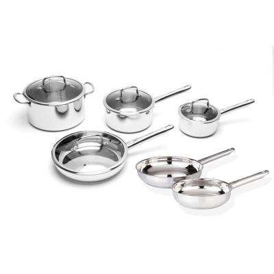EarthChef Boreal 10-Piece Silver Stainless Steel Cookware Set with Lids