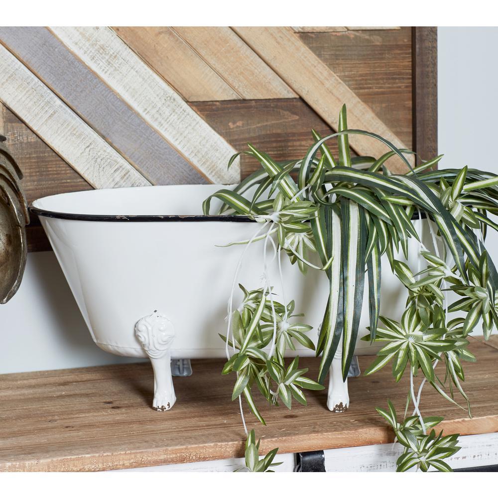 Litton Lane White Iron Tub Flower Pot 59498