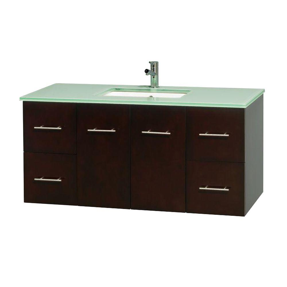 Wyndham Collection Centra 48 in. Vanity in Espresso with Glass Vanity Top in Green and Undermount Sink
