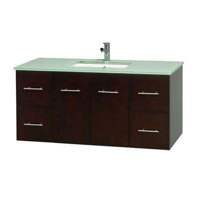 Centra 48 in. Vanity in Espresso with Glass Vanity Top in Green and Undermount Sink