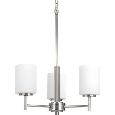 Replay 3-Light Brushed Nickel Chandelier with Etched Fluted Glass Shade